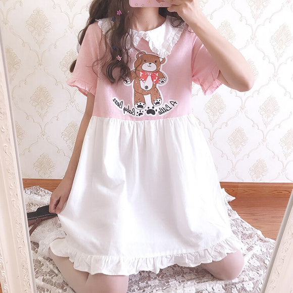 Sweet Ruffle Doll Collar Bear Print Dress