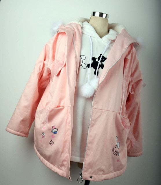 Winter Sweet Pink Trench Coat Bunny Print