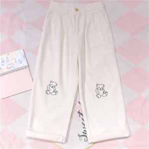 Loose  Bear Embroidery Pants