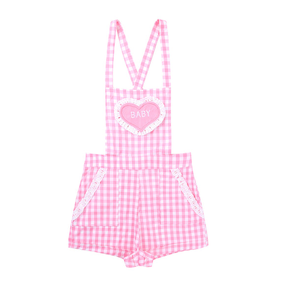 Adjustable Straps Criss-cross Back Gingham Print Short Overalls