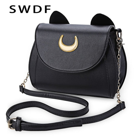 Sailor Moon Handbag Black Luna Cat Shape Chain Shoulder Bag