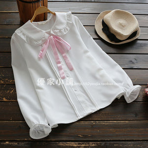 KAWAI long sleeve peter pan collar blouse