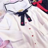 Sweet Heart Embroidery Sailor Collar Cardigans