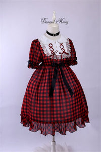 Red Plaid Dress Vintage Summer Lolita OP Dress
