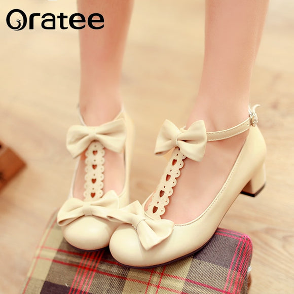 New sweet Lolita Japanese bow thick crust shoes