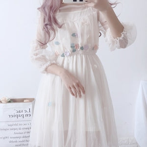 Butterfly Embroidery  Summer Dresses Puff Sleeve