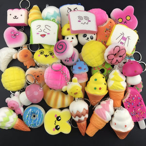 5Pcs Squishy Antistress Toys keychains