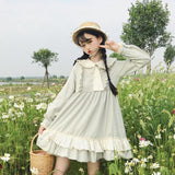 Doll Collar Wooden Ear Tie Sweet Dress