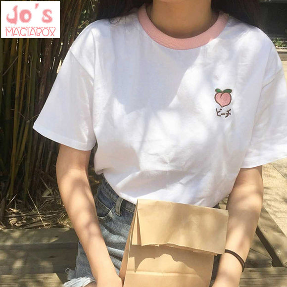 2019 New Kawaii Strawberry Embroidery T-Shirt