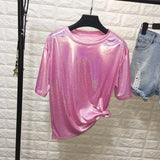 New summer retro style  bright silkshiny shirt