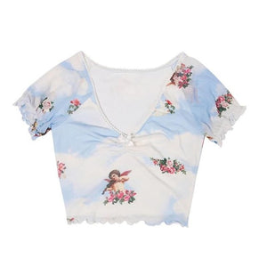 Angel Print  Ruffles Stretchy Crop Top