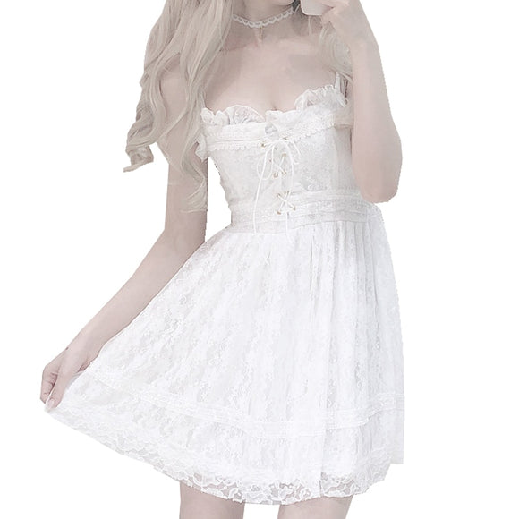 White sexy Lace Strapless dresses Cross Ribbon Bow