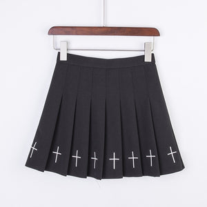 Harajuku Sweet Cross Embroidery Skirt