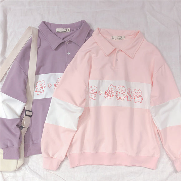 Harajuku Cute Pig Print Long Sleeve Hoodies