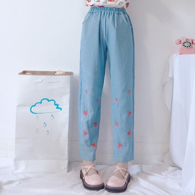 Strawberry Embroidered Denim Trousers