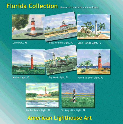 ** Florida Lighthouses - 8 Note Cards and Envelopes