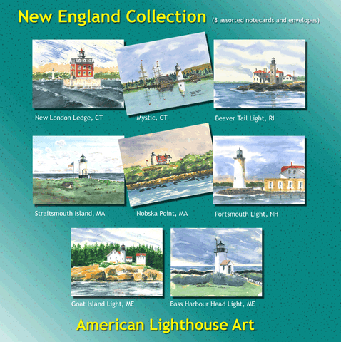 ** New England Lighthouse Collection - 8 Note Cards and Envelopes