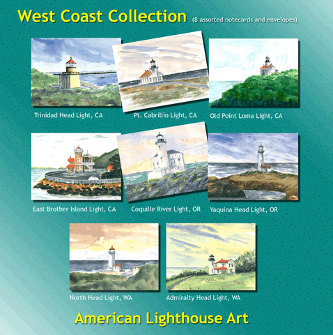 ** West Coast Lighthouse Collection - 8 Note Cards and Envelopes
