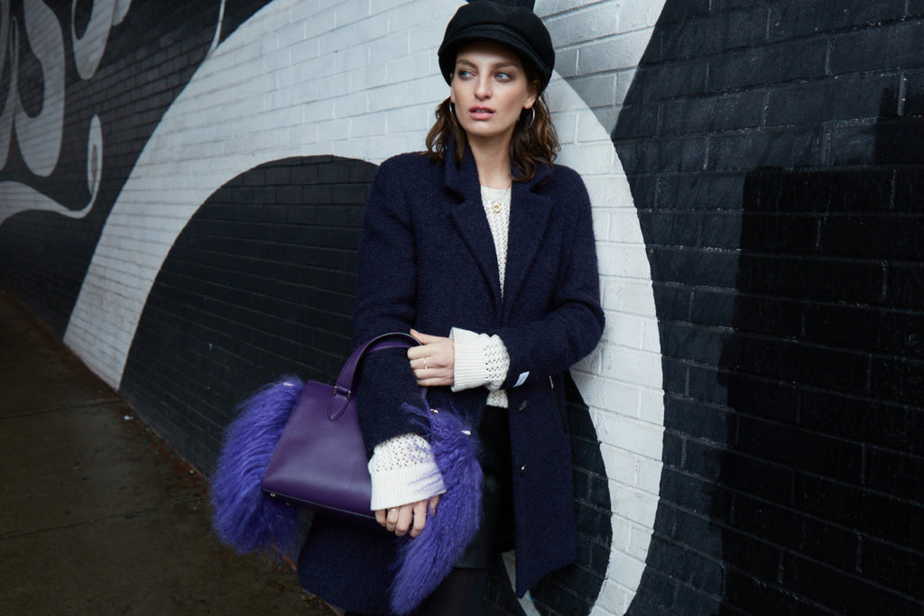 Cameron Satchel With Fur in Purple