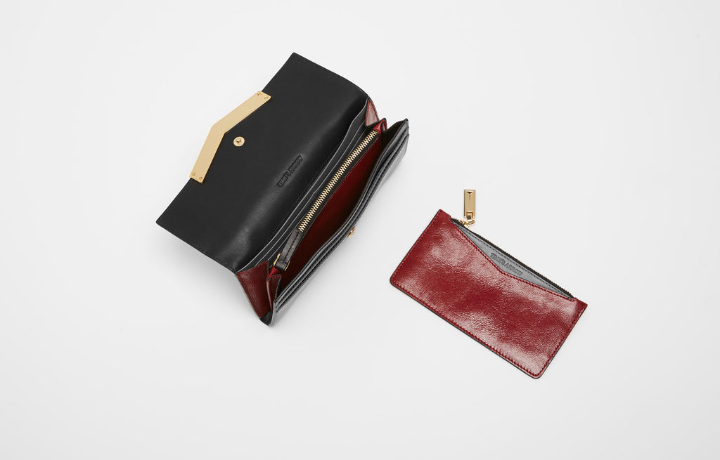 CHEVRON WALLET - SMOKE/CHERRY