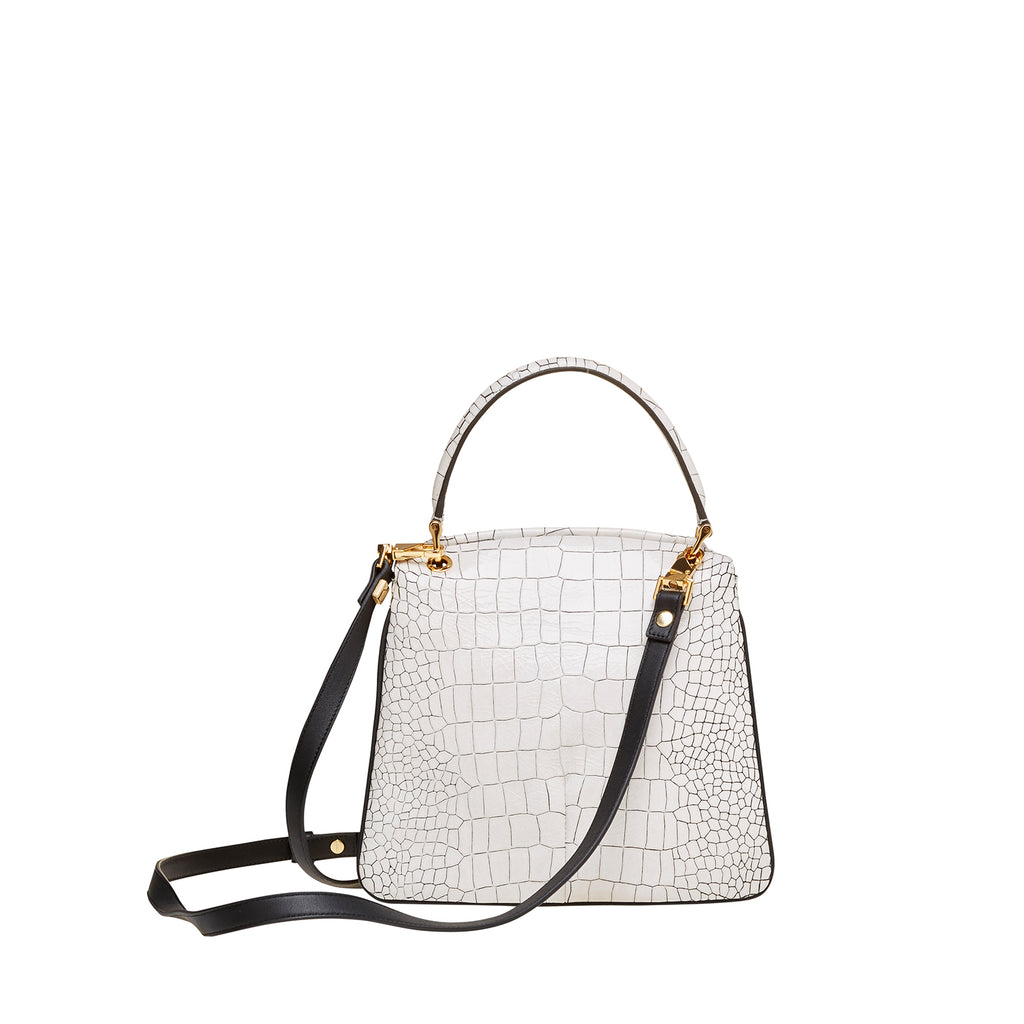 HANDLE TOP HANDLE CROSSBODY WHITE CROC