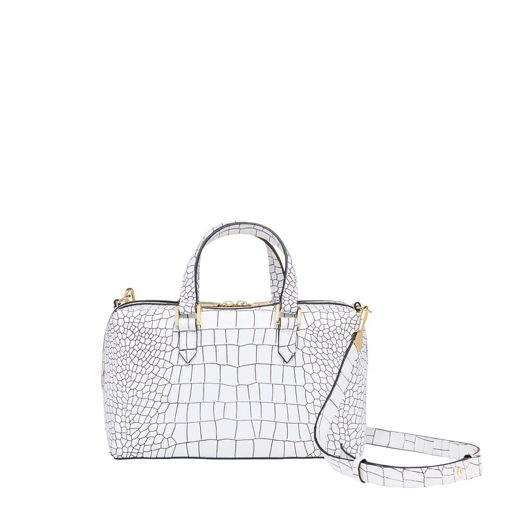ORION ZIP TOP SATCHEL WHITE CROC