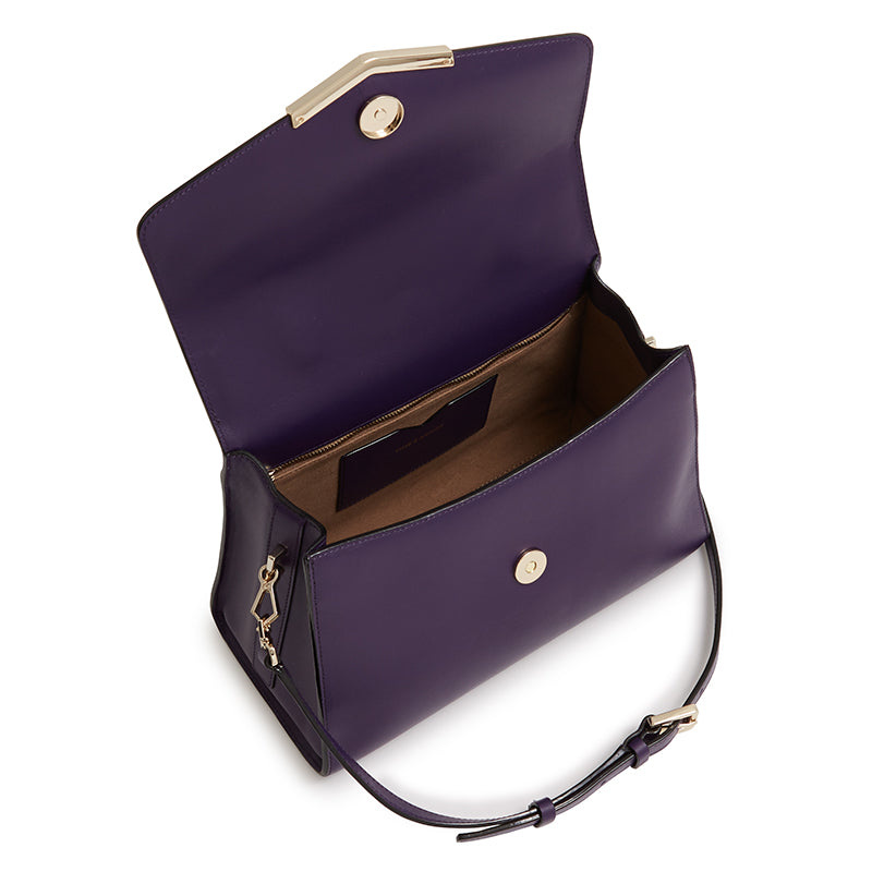 Ava Satchel With Fur in Purple