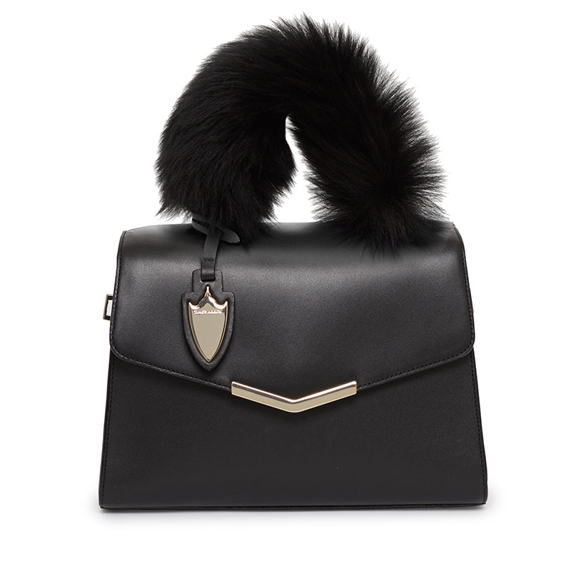 Ava Satchel With Fur Bowery Black