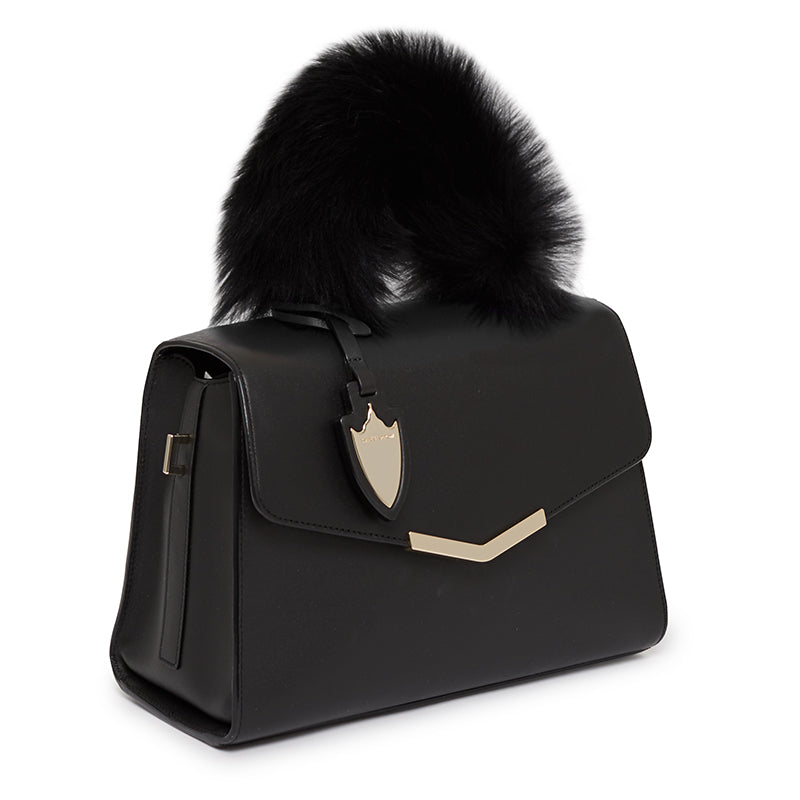 Ava Satchel with Fur in Bowery Black