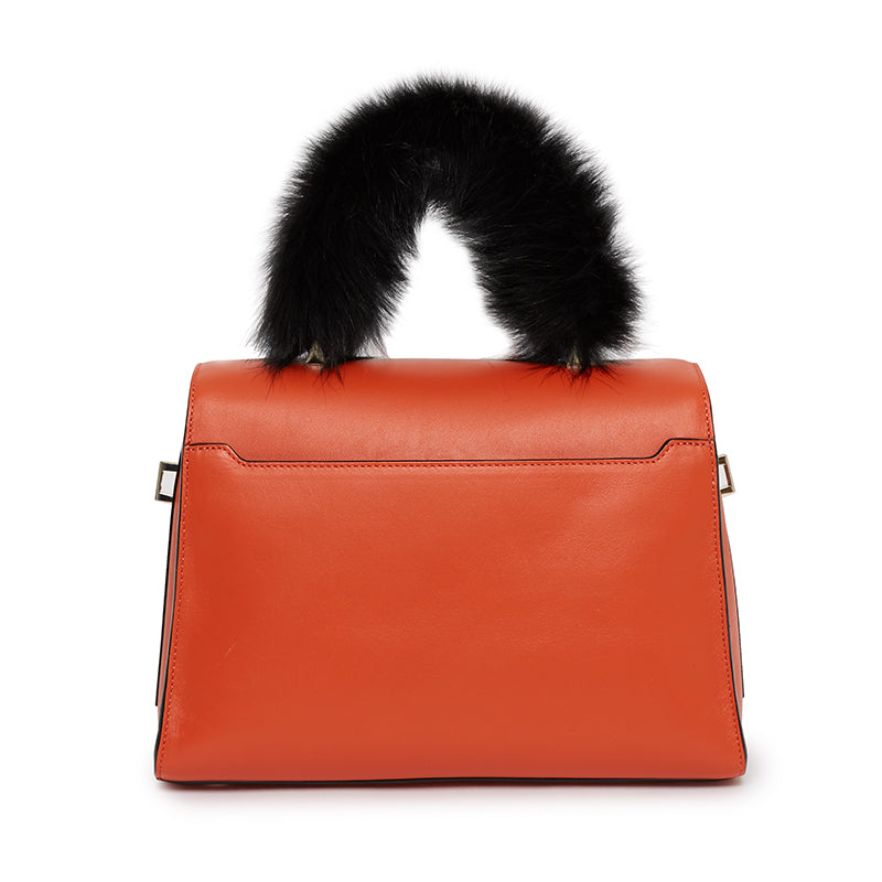 Ava Satchel With Fur in Santa Monica Sunset