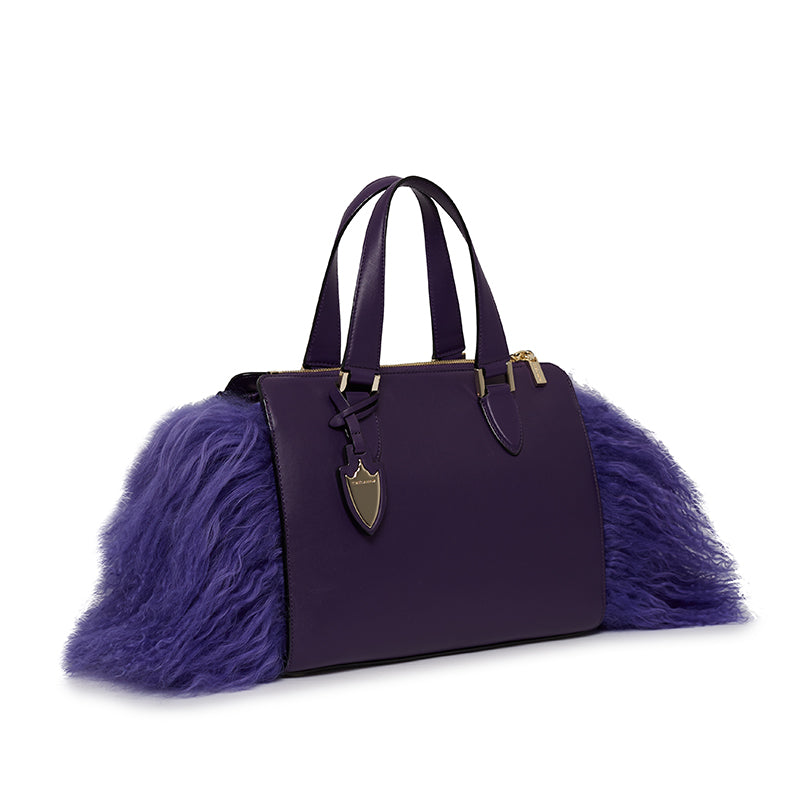 Cameron Satchel With Fur in American Amethyst