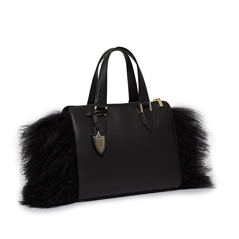 Cameron Satchel With Fur Bowery Black