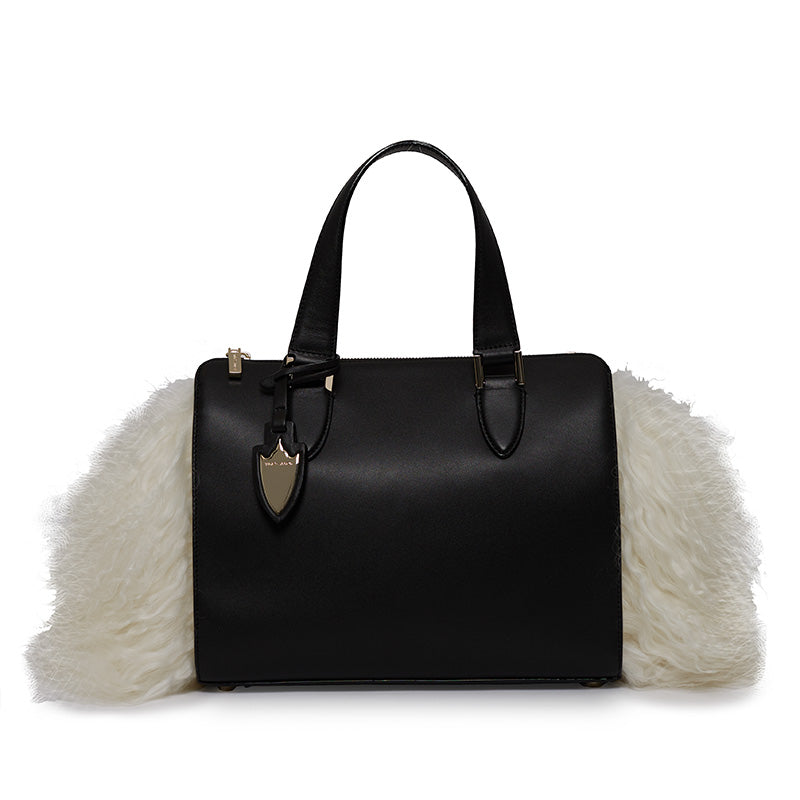 Cameron Satchel With Fur in Bowery Black/Socialite White