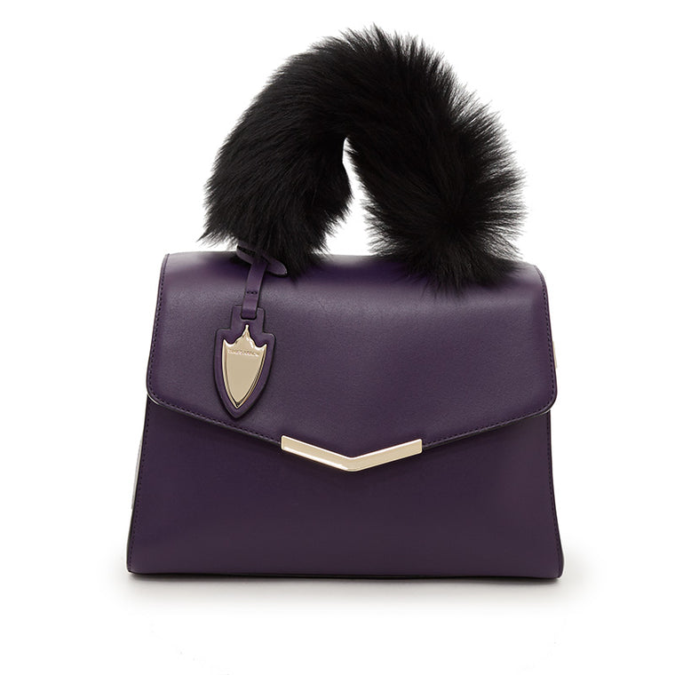 Ava Satchel With Fur in American Amethyst