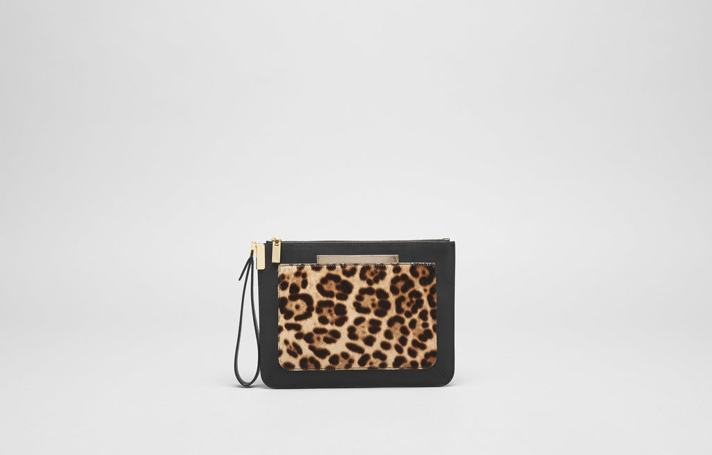 ISHI SMALL WRISTLET - LEOPARD HAIRCALF