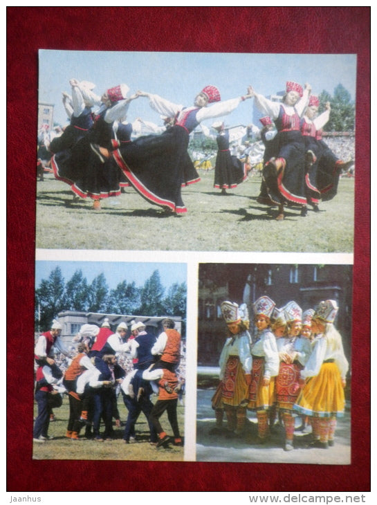 Estonian folk dancers - folk costumes - festival - large format card - 1975 - Estonia USSR - unused - JH Postcards