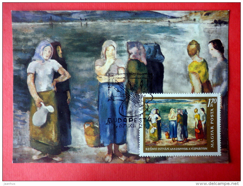 Maximum Card - painting by Szonyi Istvan , Women on the Shore - 1967 - Hungary - unused - JH Postcards