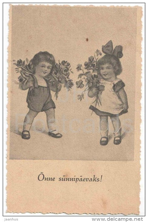 Birthday Greeting Card - children with flowers - T.E.K. - old postcard - unused - JH Postcards