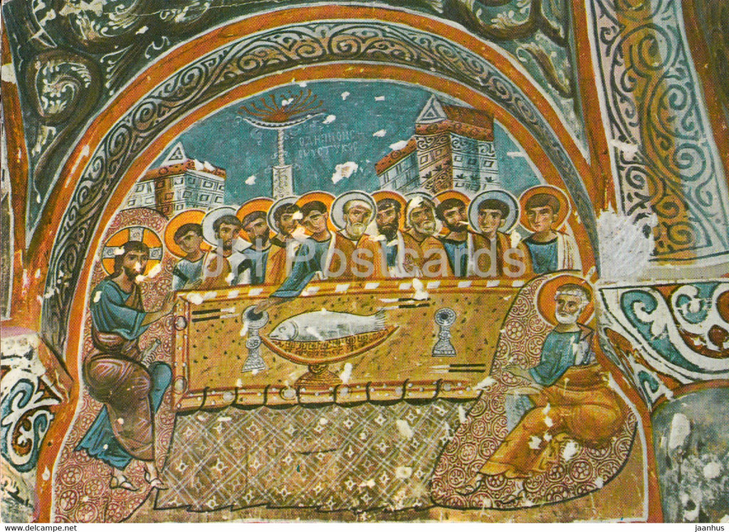 Byzantin frescoes (Last Supper) from the Rock Churches - ancient art - 1995 - Turkey - used - JH Postcards