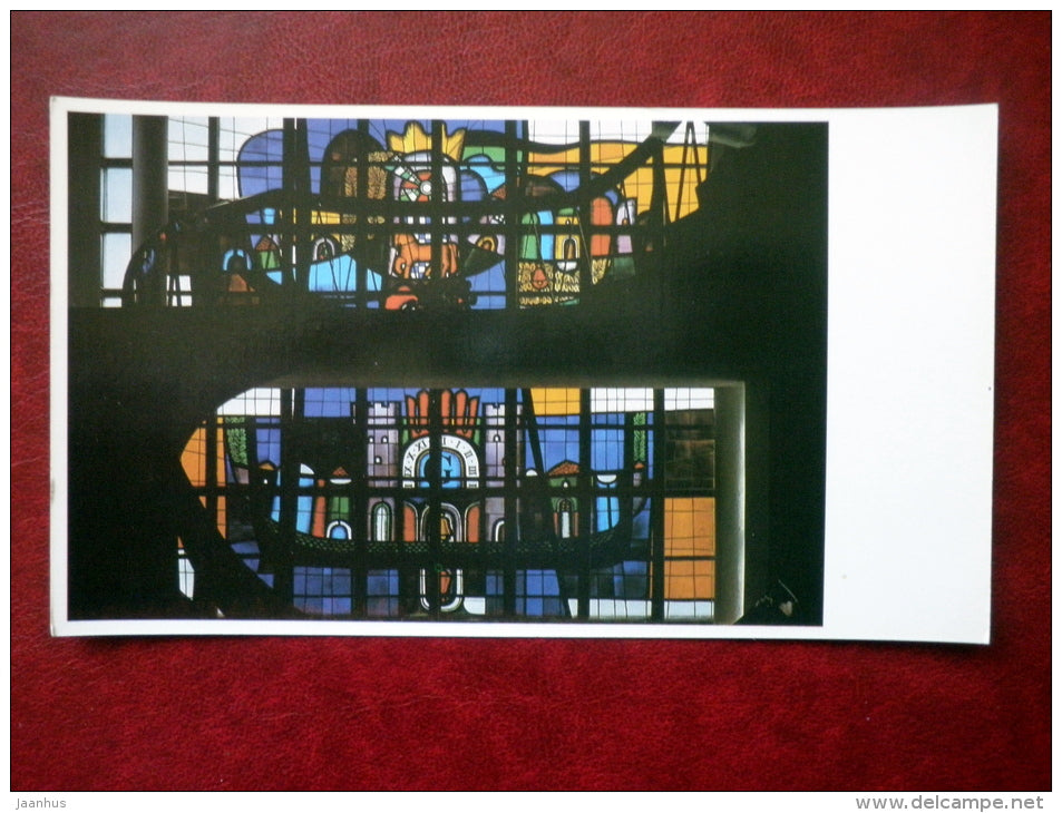 Stained glass panels in the restaurant Galve - Trakai - 1981 - Lithuania USSR - unused - JH Postcards