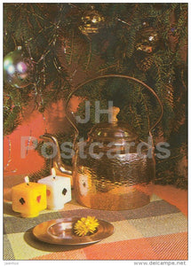 New Year Greeting card - 2 - candles - teapot - 1983 - Estonia USSR - used - JH Postcards