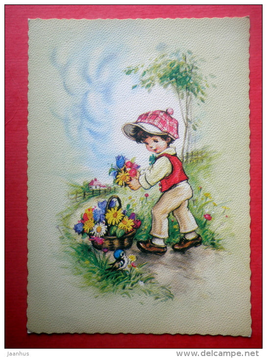 illustration - boy - flowers - birds - 1824/8 - Finland - circulated in Finland 1979 - JH Postcards