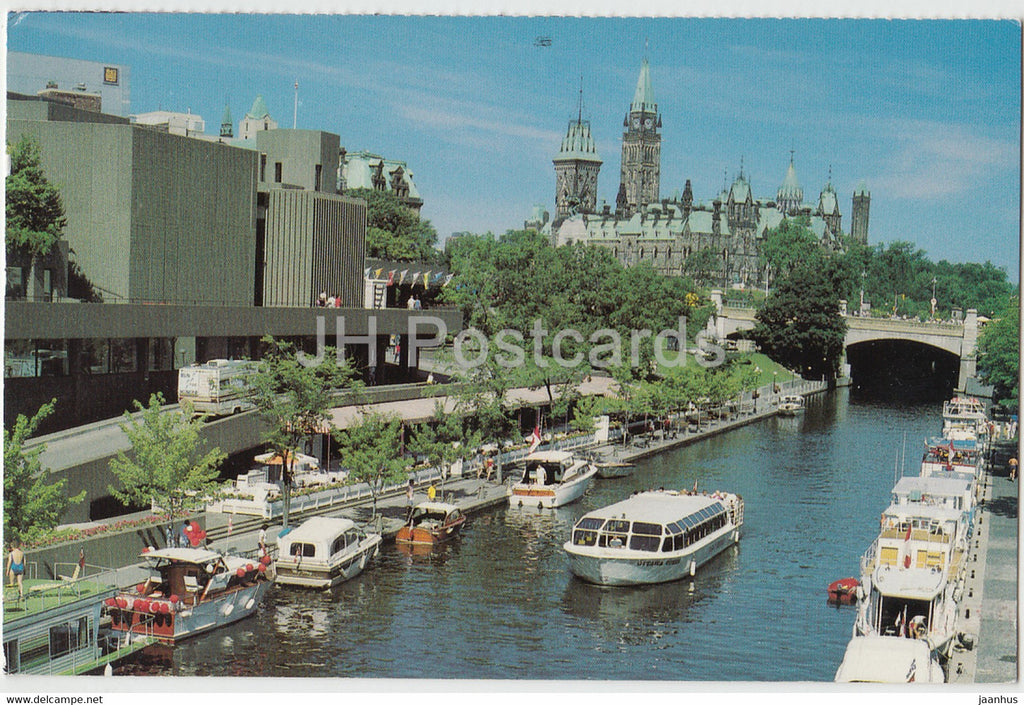 Ottawa - Rideau Canal and Parliament building - boat - 2002 - Canada - used - JH Postcards