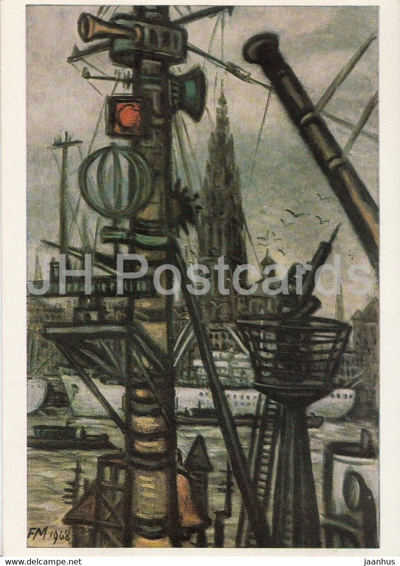 painting by Frans Masereel - Antwerpen di Schelde und die Kathedrale - Flemish art - Germany DDR - unused - JH Postcards