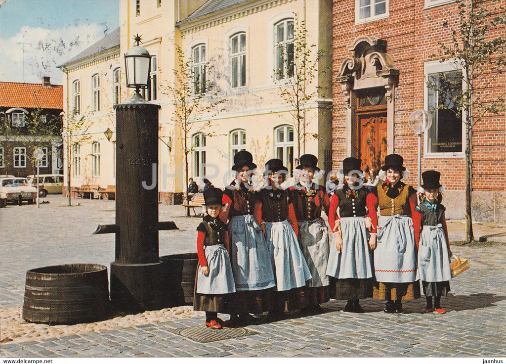 Girls Wearing National Costumes - Danish Folk Costumes - 1983 - Denmark - used - JH Postcards