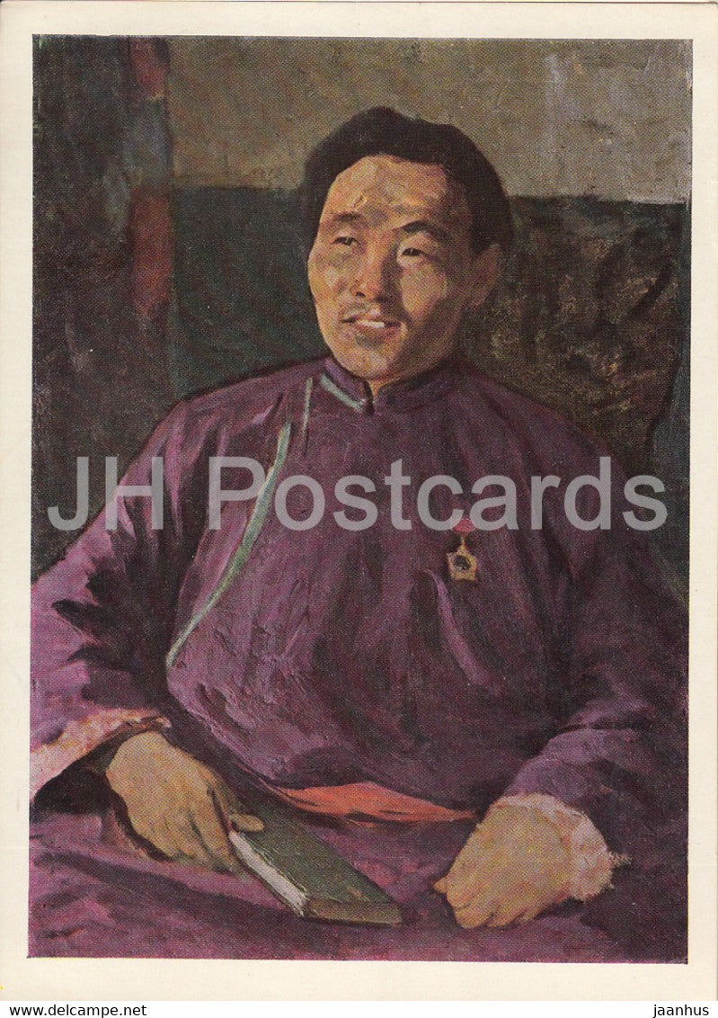 painting by A. Stroganov - Heroe of Labor - tractor driver - Mongolian art - 1966 - Russia USSR - unused - JH Postcards