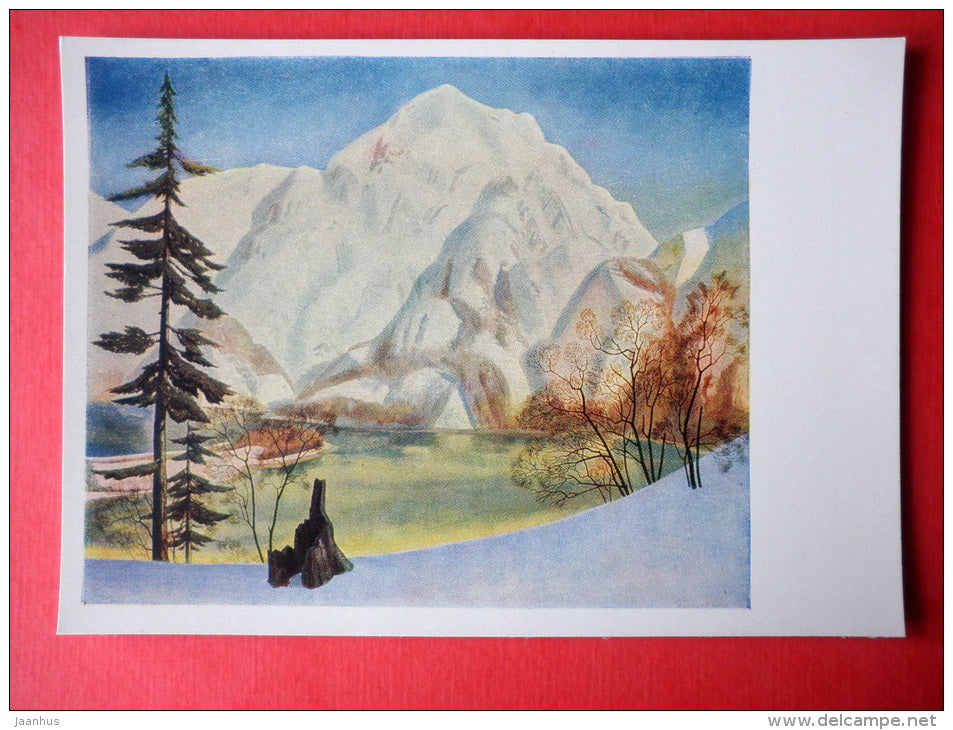 painting by Rockwell Kent - View from Foxy Island in Winter . Alaska . 1929 - art of USA - unused - JH Postcards