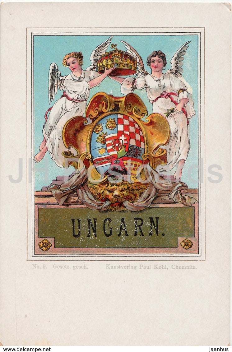 Ungarn - coat of arms - old postcard - Hungary - unused - JH Postcards