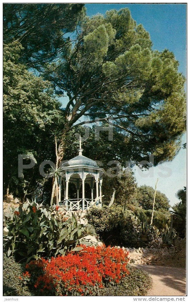 pavilion under Pinnia tree - Nikitsky Botanical Garden - Crimea - 1989 - Ukraine USSR - unused - JH Postcards