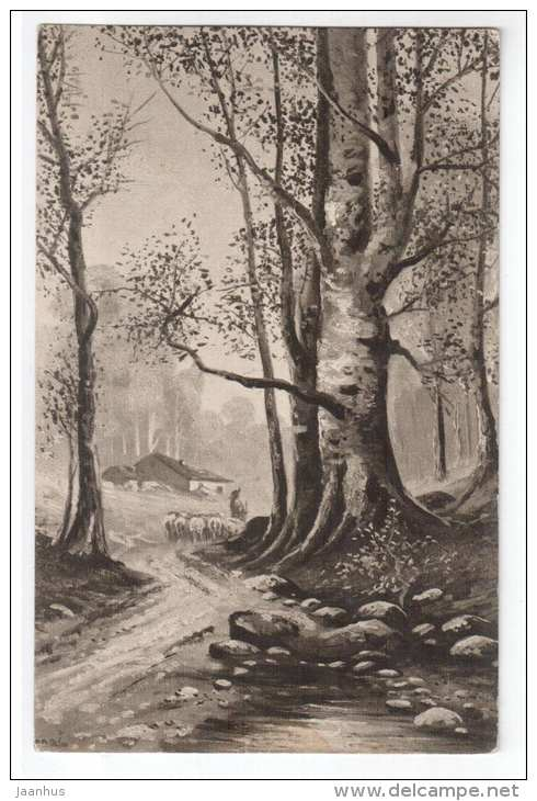 illustration - forest road - birches - Lepogravure - Processed in Austria - old postcard - circulated in Estonia - used - JH Postcards